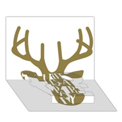 Life Is A Party Buck Deer Love Bottom 3d Greeting Card (7x5)