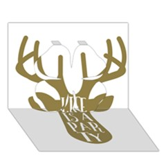 Life Is A Party Buck Deer Clover 3D Greeting Card (7x5)
