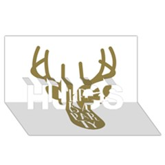 Life Is A Party Buck Deer Hugs 3d Greeting Card (8x4)