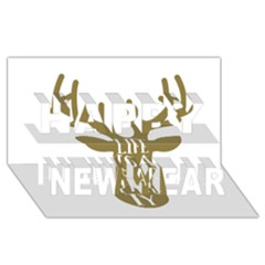 Life Is A Party Buck Deer Happy New Year 3D Greeting Card (8x4)