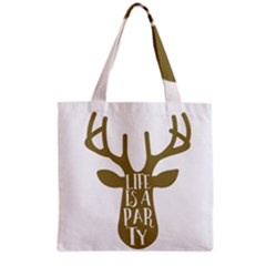 Life Is A Party Buck Deer Grocery Tote Bags
