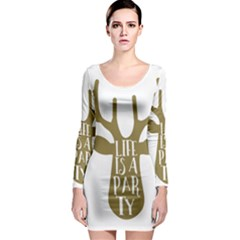 Life Is A Party Buck Deer Long Sleeve Bodycon Dresses