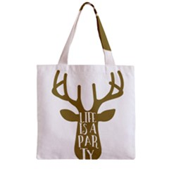 Life Is A Party Buck Deer Zipper Grocery Tote Bags