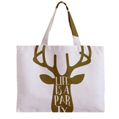 Life Is A Party Buck Deer Zipper Tiny Tote Bags
