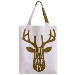 Life Is A Party Buck Deer Zipper Classic Tote Bags