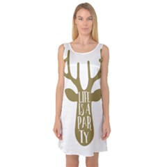 Life Is A Party Buck Deer Sleeveless Satin Nightdresses