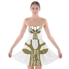 Life Is A Party Buck Deer Strapless Bra Top Dress