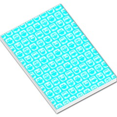 Aqua Turquoise And White Owl Pattern Large Memo Pads