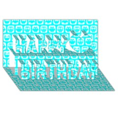 Aqua Turquoise And White Owl Pattern Happy Birthday 3D Greeting Card (8x4)