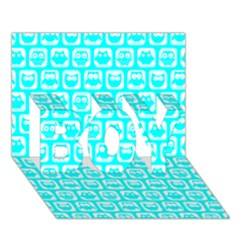 Aqua Turquoise And White Owl Pattern BOY 3D Greeting Card (7x5)