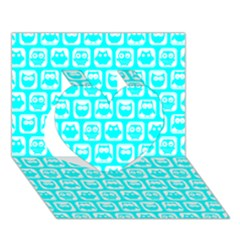Aqua Turquoise And White Owl Pattern Heart 3D Greeting Card (7x5)