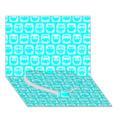 Aqua Turquoise And White Owl Pattern Heart Bottom 3D Greeting Card (7x5)