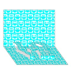 Aqua Turquoise And White Owl Pattern LOVE Bottom 3D Greeting Card (7x5)