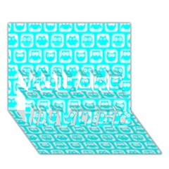 Aqua Turquoise And White Owl Pattern You Are Invited 3d Greeting Card (7x5)