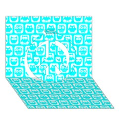 Aqua Turquoise And White Owl Pattern Peace Sign 3D Greeting Card (7x5)