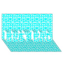 Aqua Turquoise And White Owl Pattern BEST BRO 3D Greeting Card (8x4)