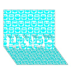Aqua Turquoise And White Owl Pattern HOPE 3D Greeting Card (7x5)