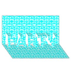 Aqua Turquoise And White Owl Pattern Party 3d Greeting Card (8x4)