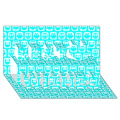 Aqua Turquoise And White Owl Pattern Best Wish 3D Greeting Card (8x4)