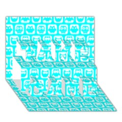 Aqua Turquoise And White Owl Pattern TAKE CARE 3D Greeting Card (7x5)