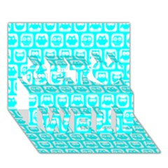 Aqua Turquoise And White Owl Pattern Get Well 3d Greeting Card (7x5)