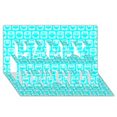 Aqua Turquoise And White Owl Pattern Happy New Year 3D Greeting Card (8x4)