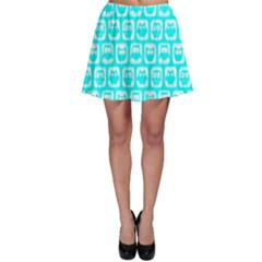 Aqua Turquoise And White Owl Pattern Skater Skirts