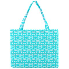 Aqua Turquoise And White Owl Pattern Tiny Tote Bags