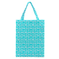 Aqua Turquoise And White Owl Pattern Classic Tote Bags