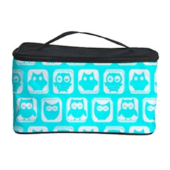 Aqua Turquoise And White Owl Pattern Cosmetic Storage Cases