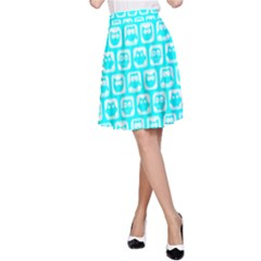 Aqua Turquoise And White Owl Pattern A-Line Skirts
