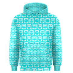 Aqua Turquoise And White Owl Pattern Men s Pullover Hoodies