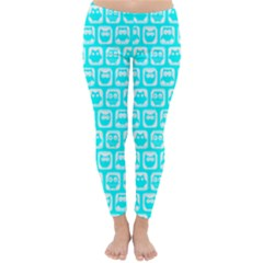 Aqua Turquoise And White Owl Pattern Winter Leggings