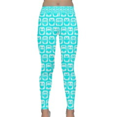 Aqua Turquoise And White Owl Pattern Yoga Leggings
