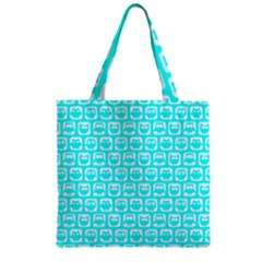Aqua Turquoise And White Owl Pattern Zipper Grocery Tote Bags