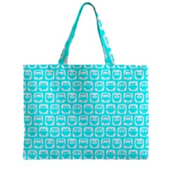 Aqua Turquoise And White Owl Pattern Zipper Tiny Tote Bags