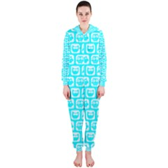 Aqua Turquoise And White Owl Pattern Hooded Jumpsuit (Ladies)