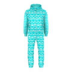 Aqua Turquoise And White Owl Pattern Hooded Jumpsuit (Kids)