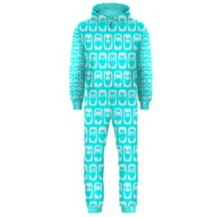 Aqua Turquoise And White Owl Pattern Hooded Jumpsuit (Men)