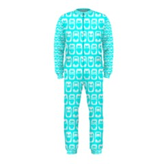 Aqua Turquoise And White Owl Pattern OnePiece Jumpsuit (Kids)