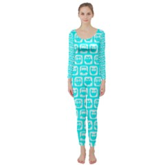 Aqua Turquoise And White Owl Pattern Long Sleeve Catsuit