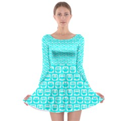 Aqua Turquoise And White Owl Pattern Long Sleeve Skater Dress
