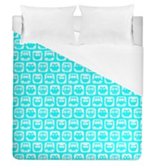 Aqua Turquoise And White Owl Pattern Duvet Cover Single Side (full/queen Size)