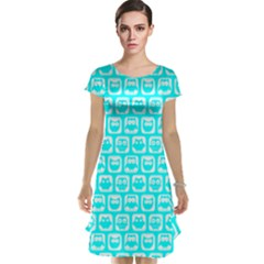 Aqua Turquoise And White Owl Pattern Cap Sleeve Nightdresses