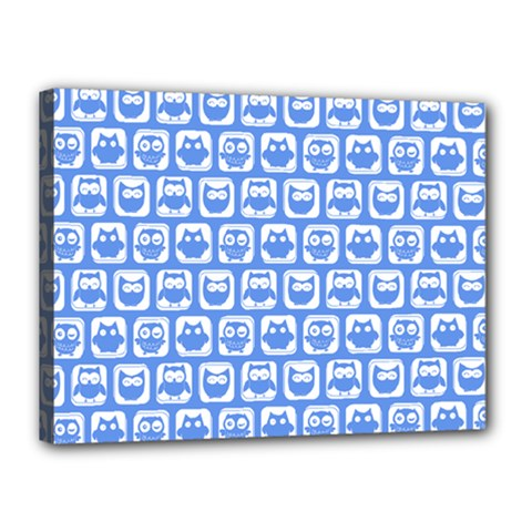 Blue And White Owl Pattern Canvas 16  x 12