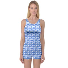 Blue And White Owl Pattern Women s Boyleg One Piece Swimsuits