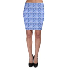 Blue And White Owl Pattern Bodycon Skirts