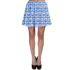Blue And White Owl Pattern Skater Skirts