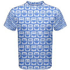 Blue And White Owl Pattern Men s Cotton Tees