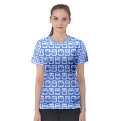 Blue And White Owl Pattern Women s Sport Mesh Tees